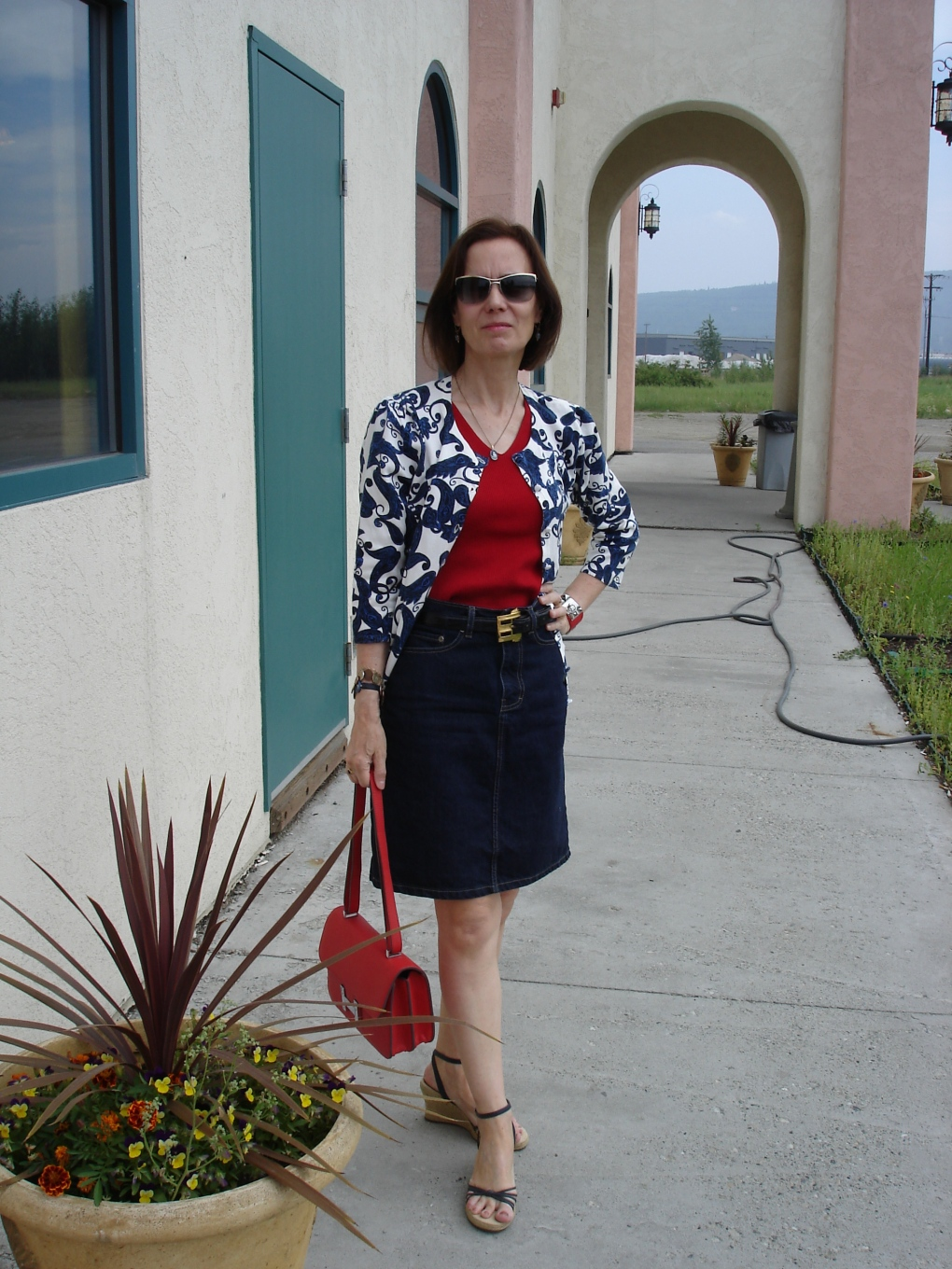 agelessStyle mature woman in a denim skirt for Casual Friday