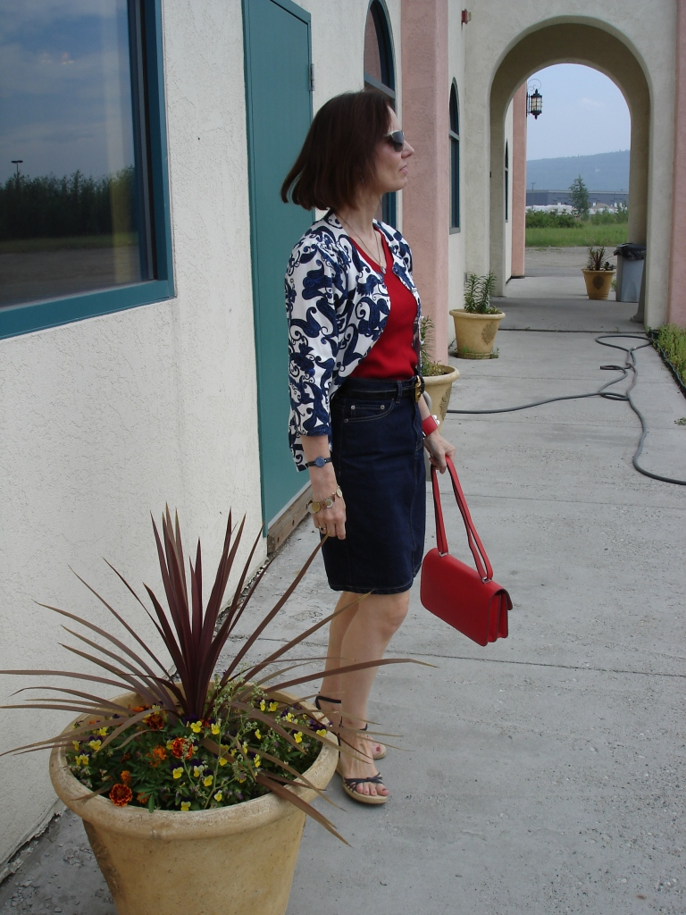 fashionover40  red, white and blue work outfit