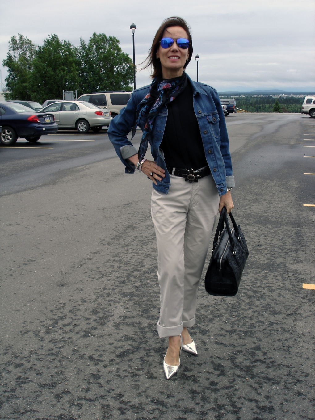 fashionover50 Ageless Style  in a denim jacket for Casual Friday
