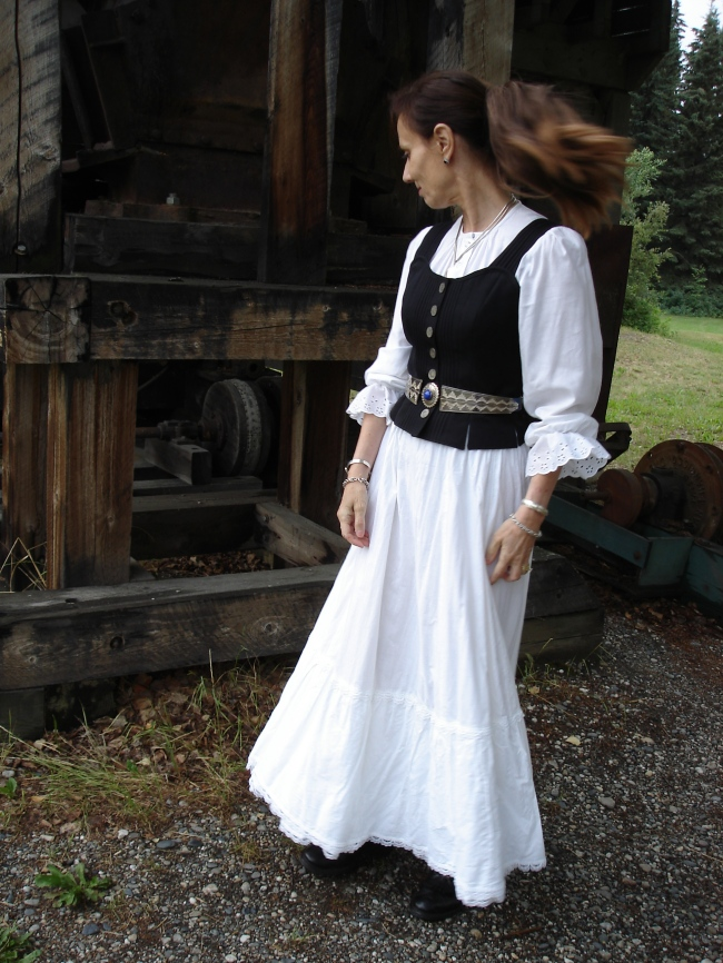 Gold rush costume in white with vest| High Latitude Style | http://www.highlatitudestyle.com