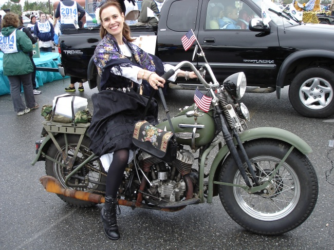 WWII Harley Davidson and woman in historic costume