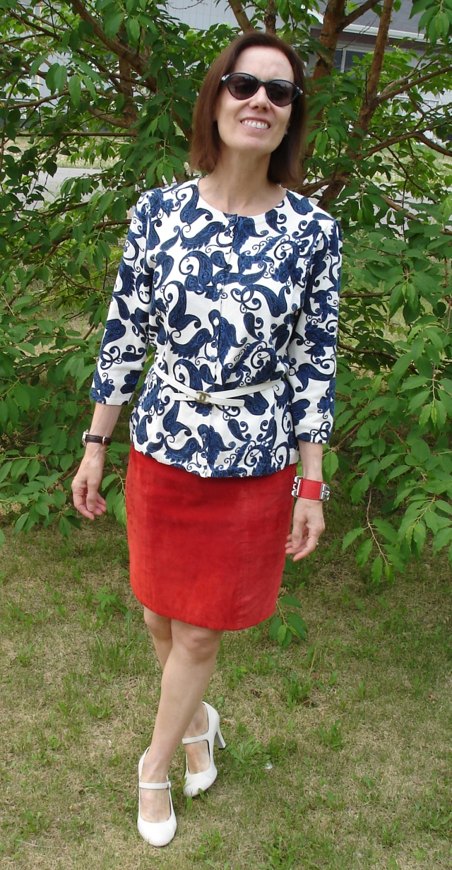 #over50style red white and blue outfit