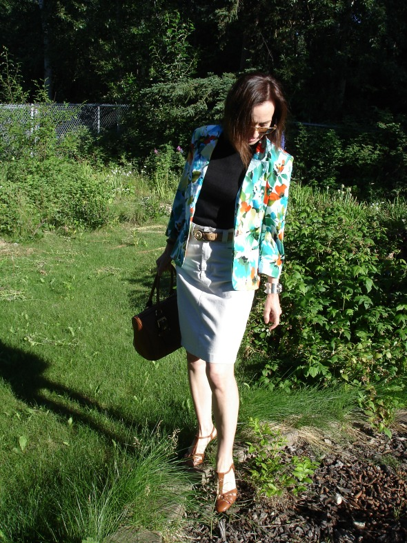 fashion over 40 work outfit with floral blazer