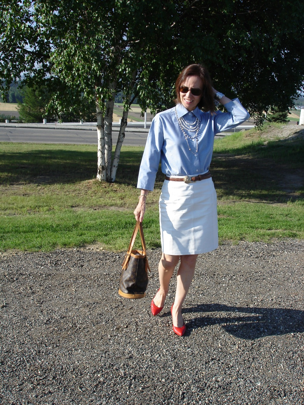 style over 40 skirt with button-down shirt
