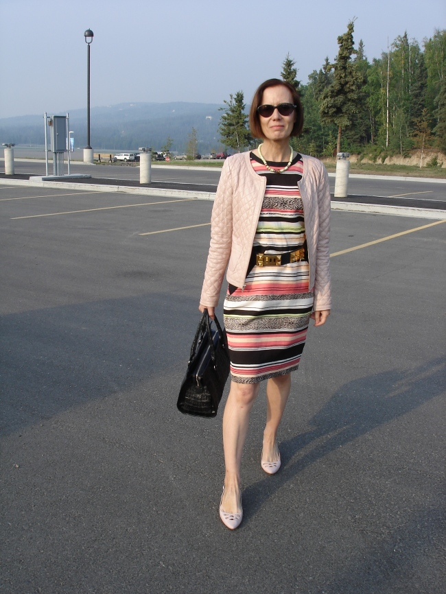 style over 40 work outfit with quilted leather jacket