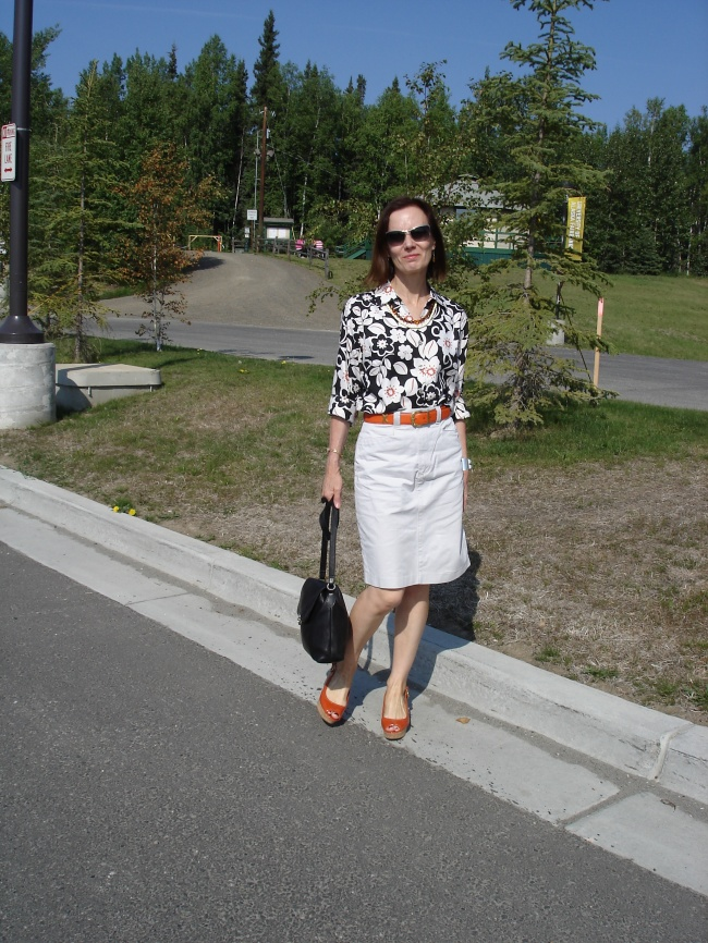 fashion over 40 woman in posh street style