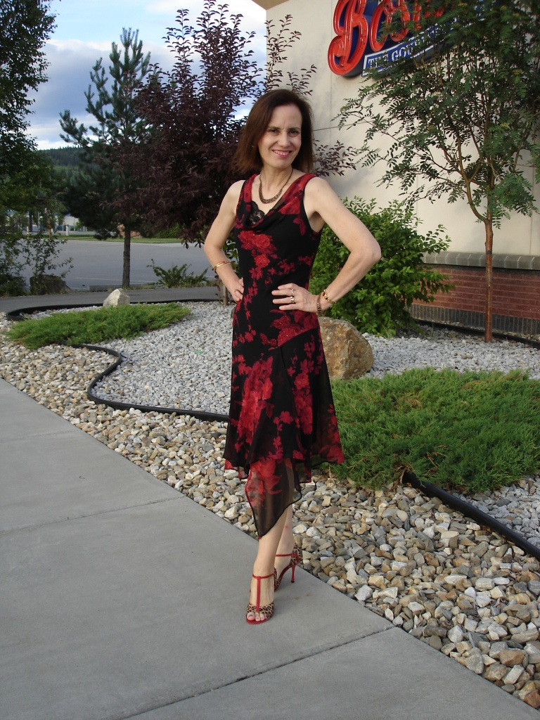 #fashionover40 woman in floral asymmetric hem dress | High Latitude Style | http://www.highlatitudestyle.com