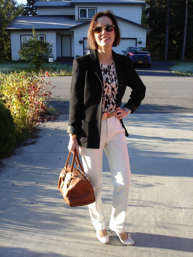 #fashionover40 Office outfit in black, brown and white @ http://www.highlatitudestyle.com