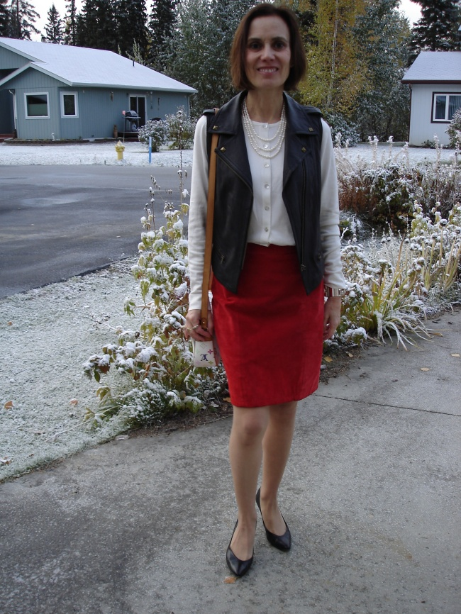#fashionover40 #fashionover50 Red-white-black edgy office look | High Latitude Style | http://www.highlatitudestyle.com