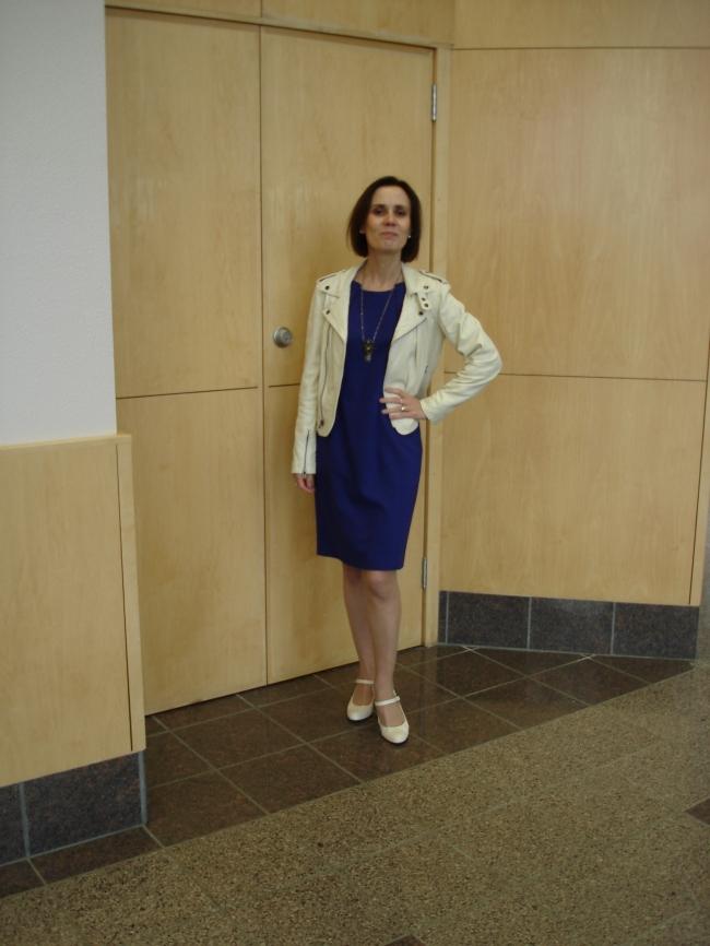 #over40 Dress with motorcycle jacket | High Latitude Style | http://www.highlatitudestyle.com
