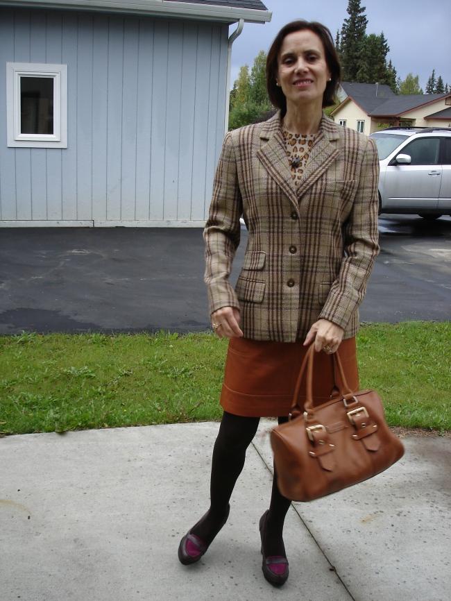 fashion over 40 woman in plaid blazer