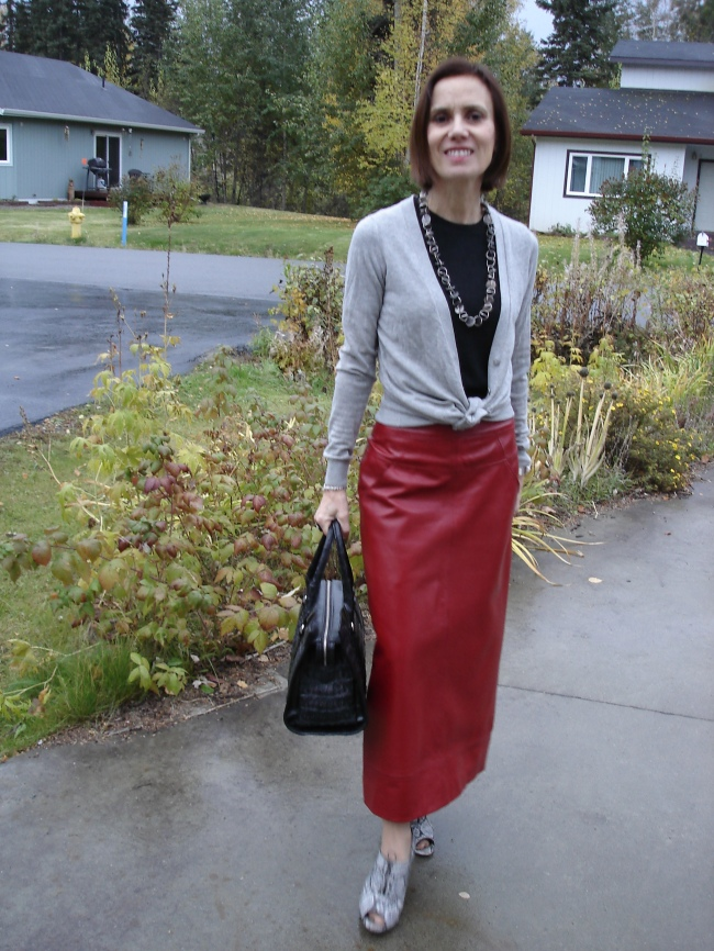 styleover40 Long red A-line leather skirt