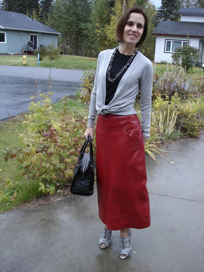 fashionover40  Long leather skirt