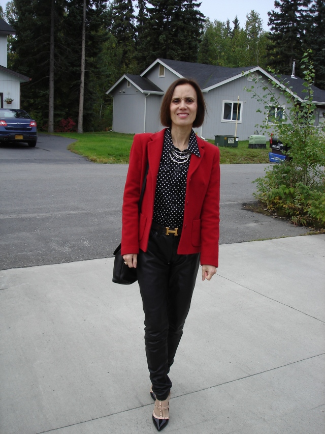 over 40 lady in leather pants and blazer