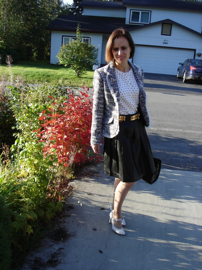 midlife woman in office outfit