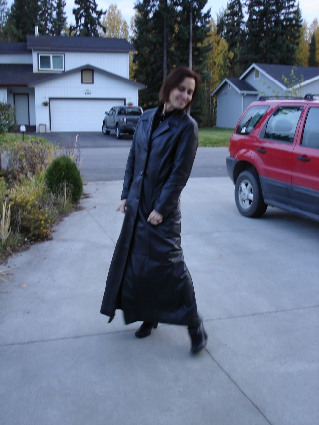 style over 40 woman in a maxi leather coat