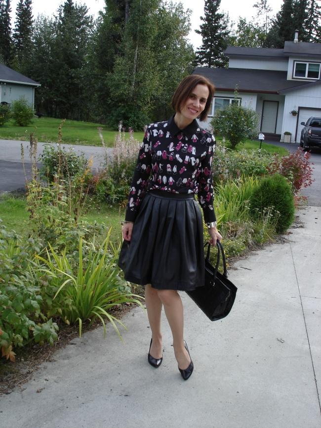 fashionover40 mature woman wearing a VB dress as blouse