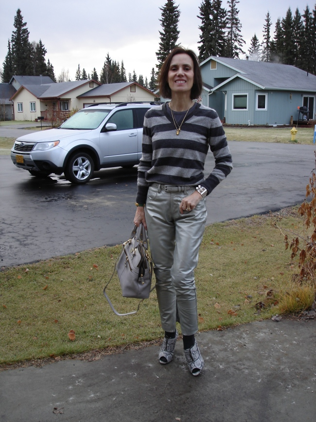 fashionover40 woman in silver pants