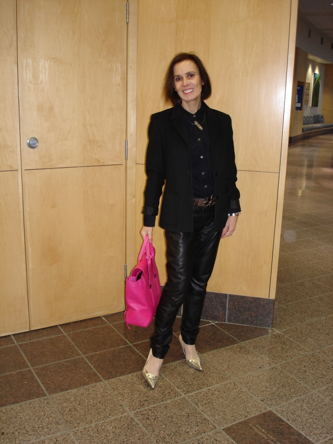 #fashionover40 mature woman in work outfit with leather pants