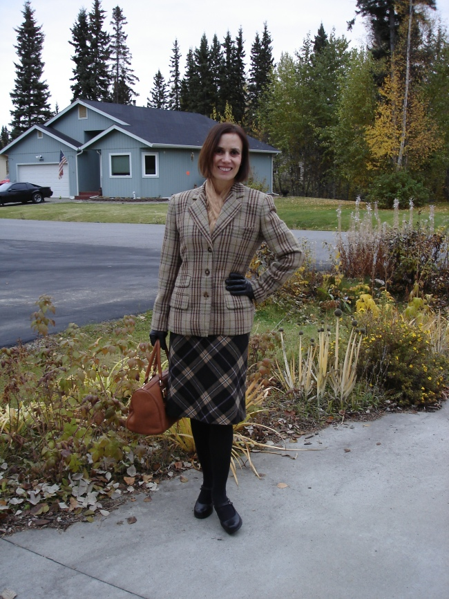 #styleover40 woman wearing a work outfit with two types of plaid
