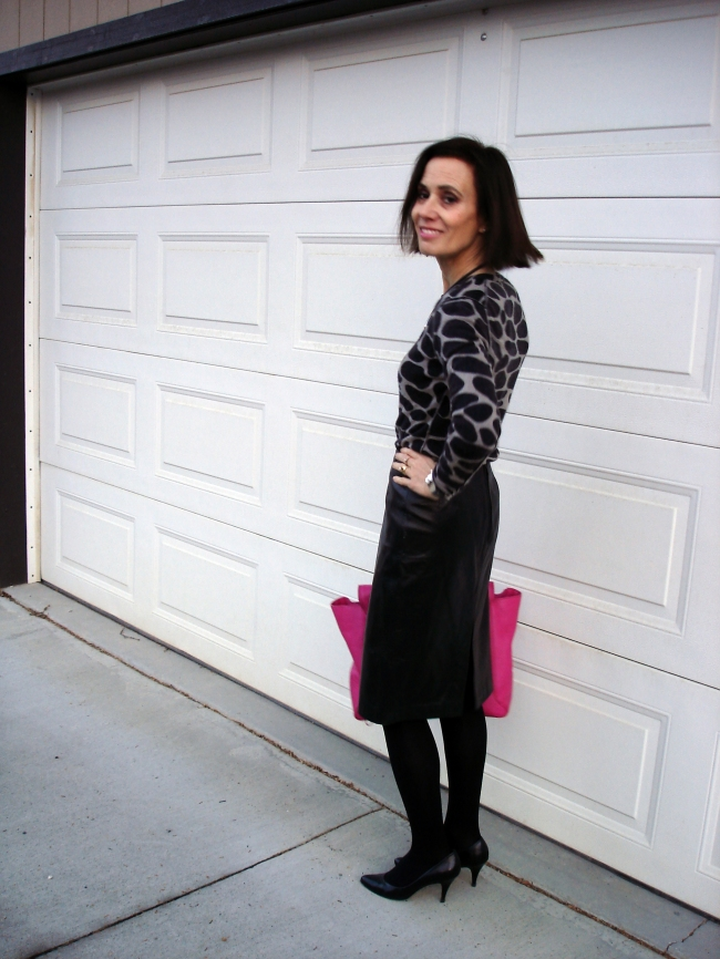 #fashionover40 mature outfit with giraffe print