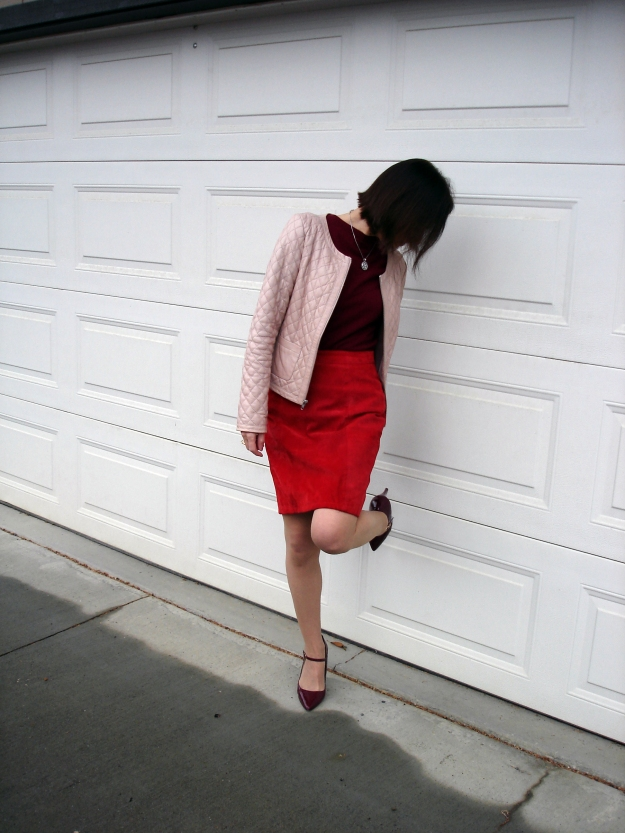 fashionover50  Woman in work outfit in pink and red