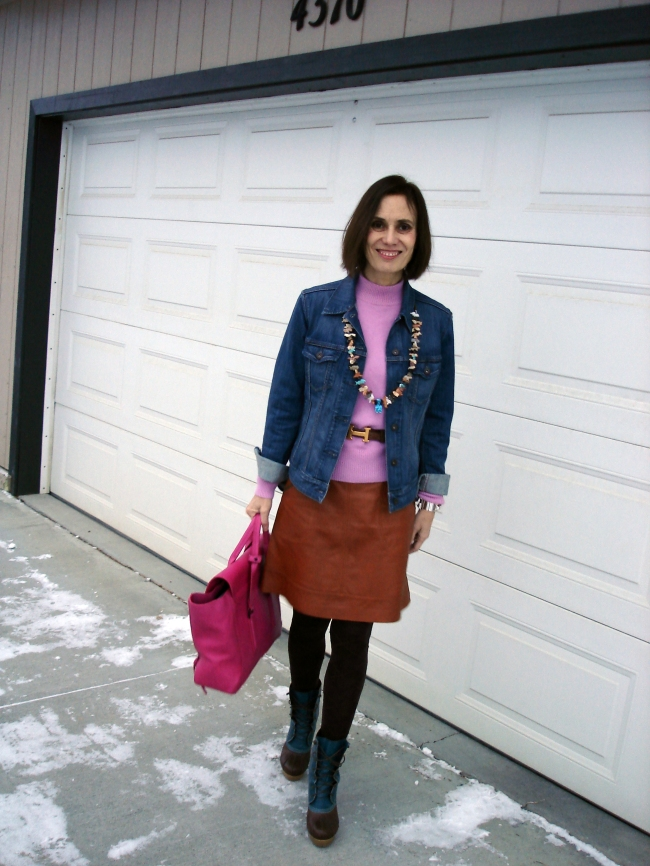 #fashion #over40 Outfit with leather skirt