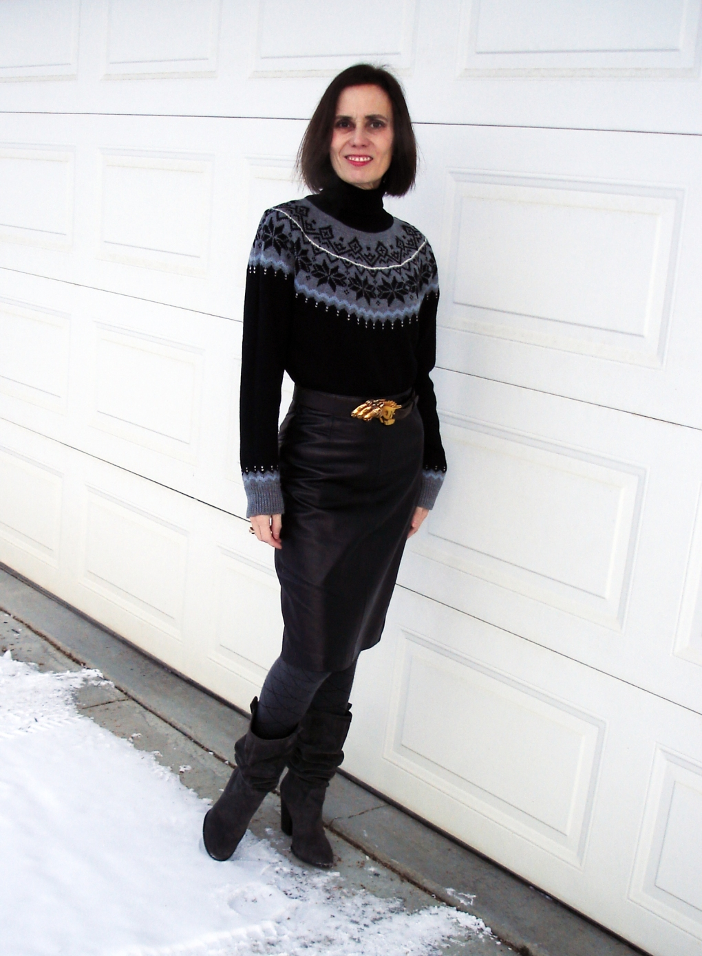 over 40 style Fair Isle sweater with leather pencil skirt