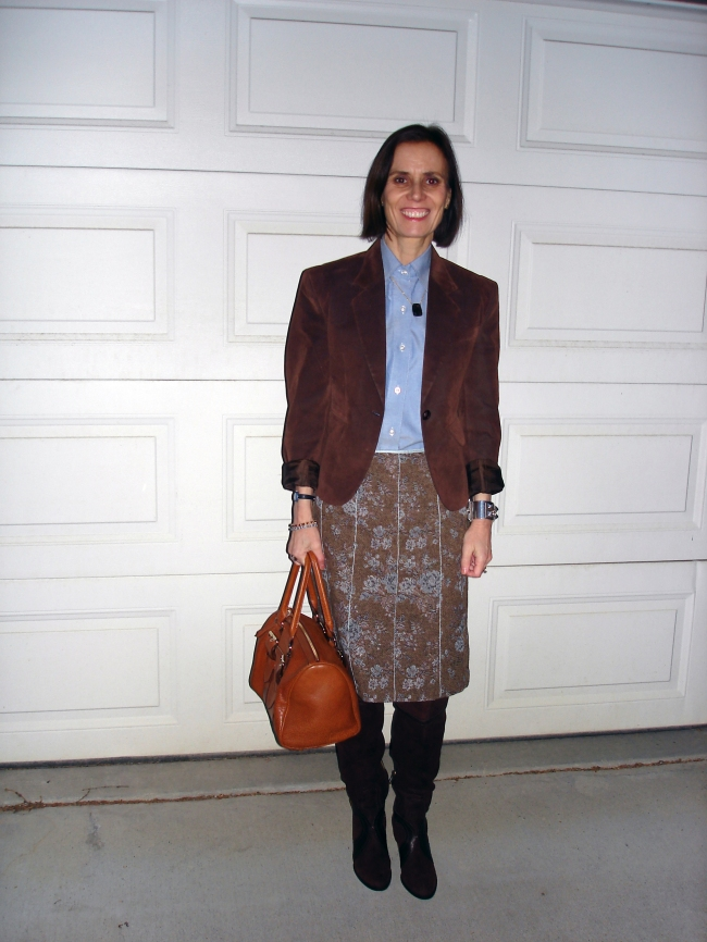 #styleover40 mature winter office look with over-the-knee boots
