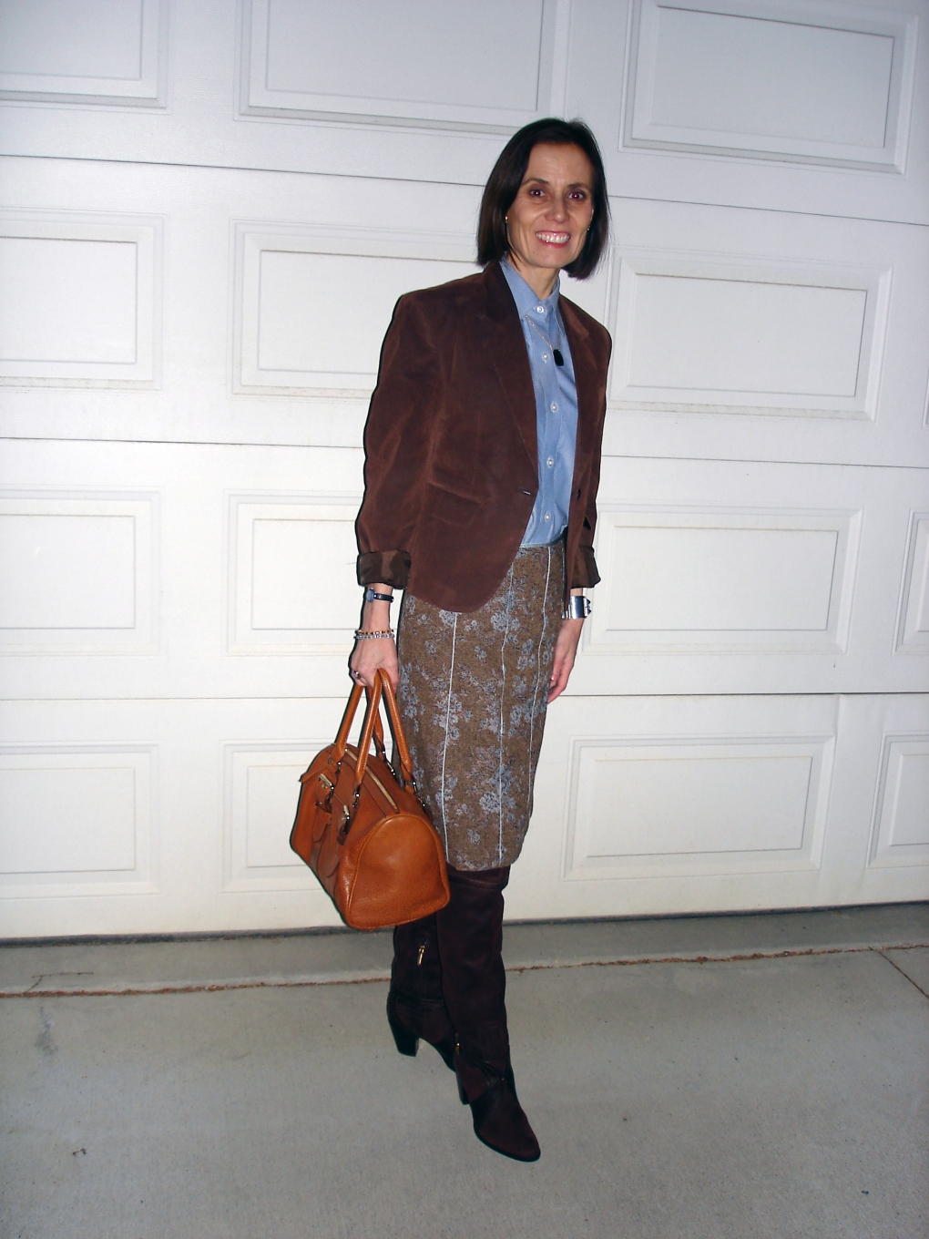 #styleover40 mature woman in a tweed skirt with button-down shirt and suede blazer for a winter office look