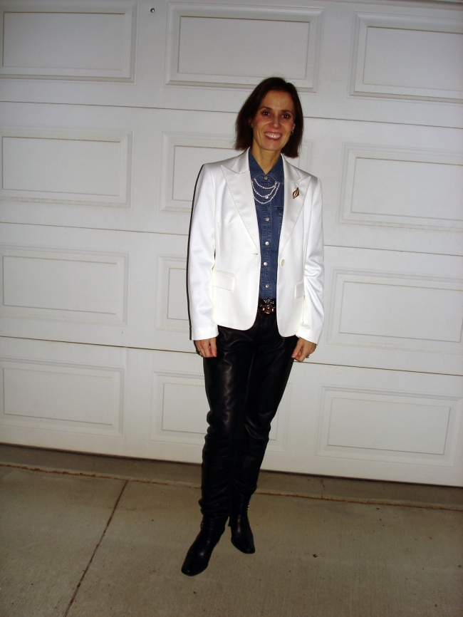 fashionover40 Casual winter look with leather pants and white blazer