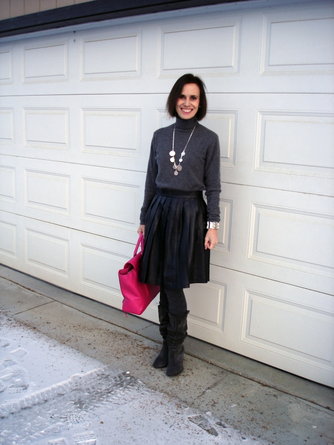 fashionover40 Winter outfit with full leather skirt
