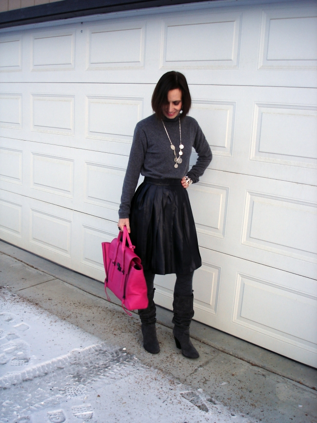 fashionover50 Winter outfit with pleated leather skirt