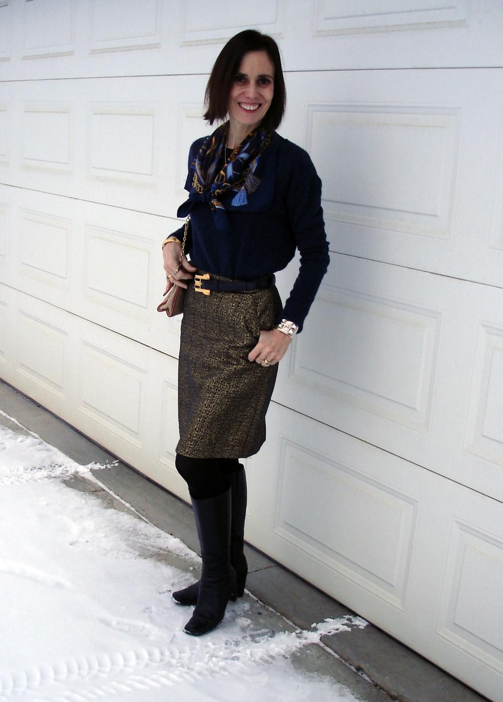 #fashionover40 mature woman wearing a brocade skirt