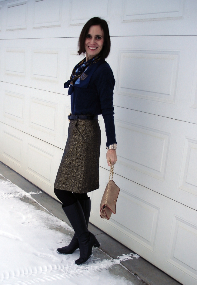 mature woman in Thanksgiving outfit with brocade skirt