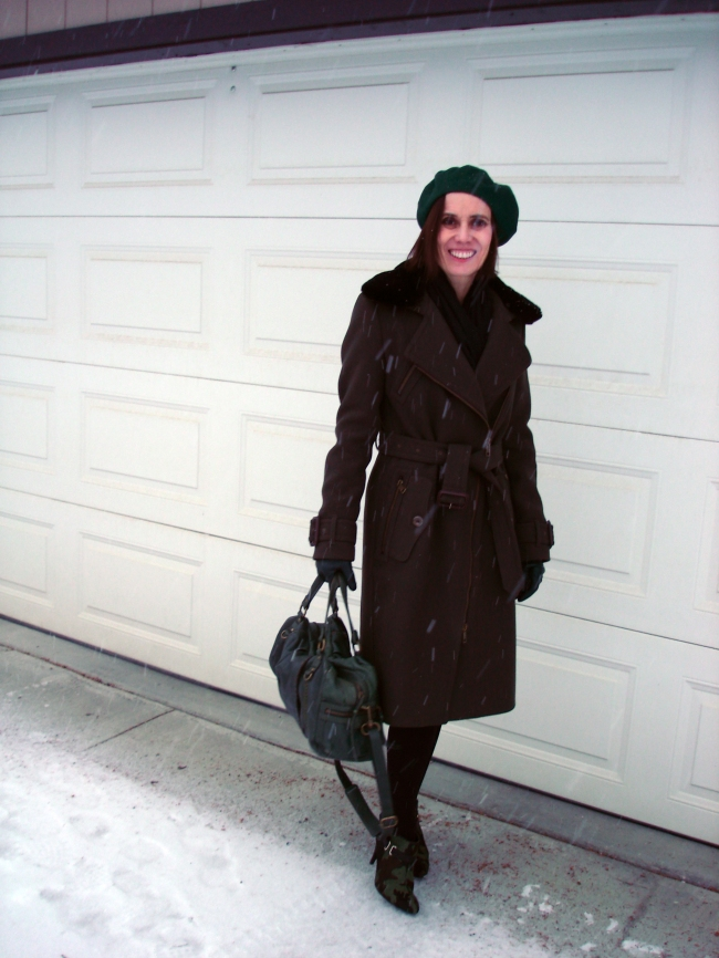 #fashionover40 mature winter look with motorcycle coat and green beret