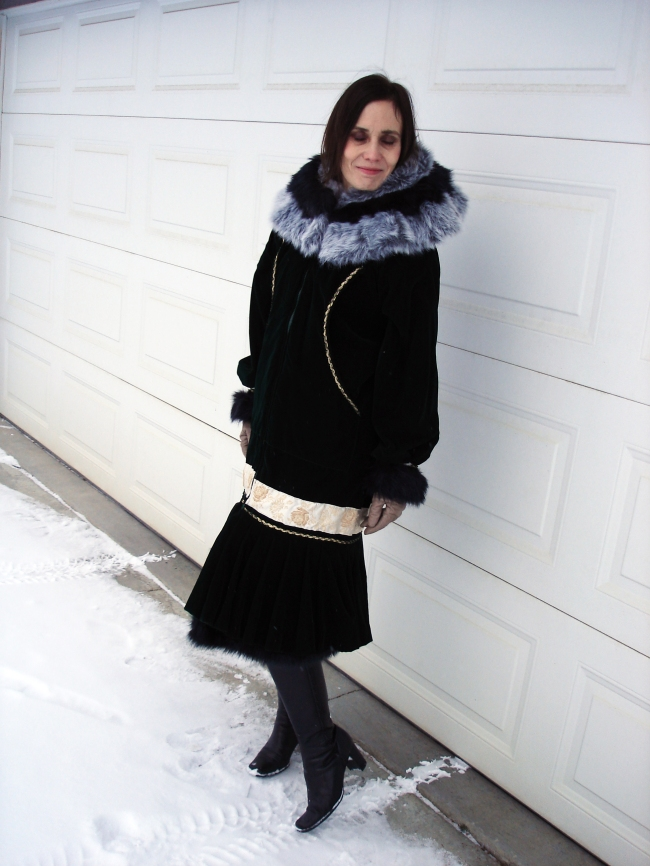 midlife woman in posh chic traditional Kuspak for Thanksgiving
