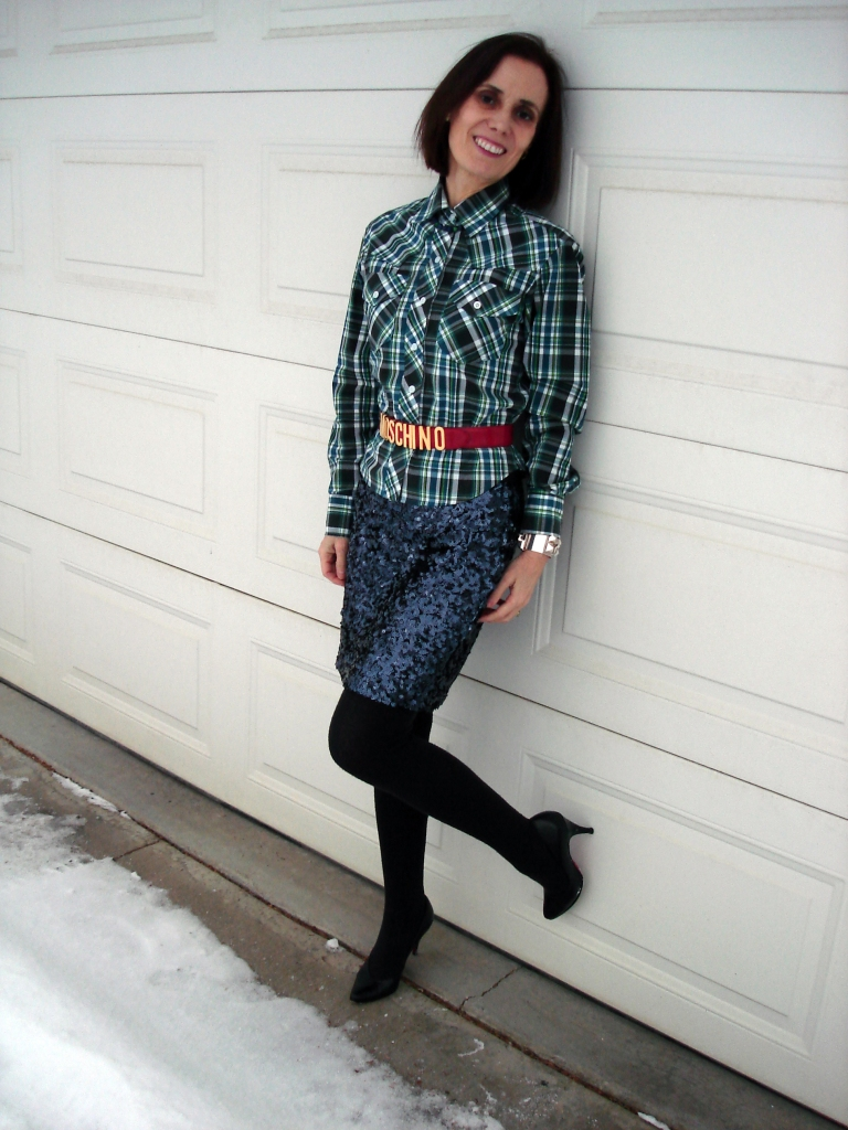 fashion over 50 woman with sequin skirt and plaid shirt in eclectic style