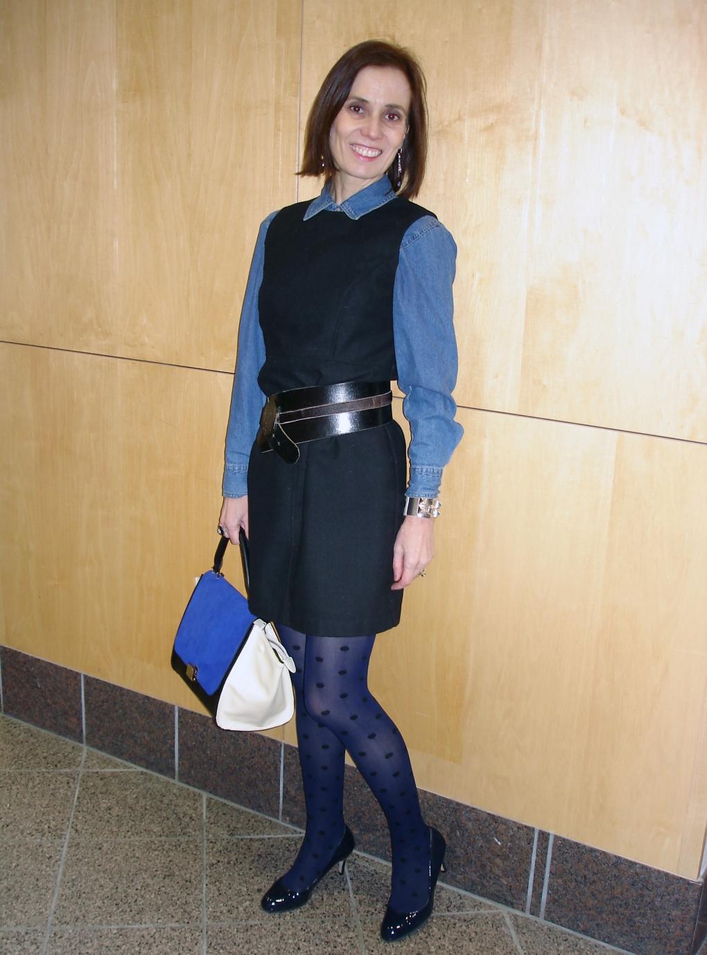 #styleover50 woman wearing a denim shirt under a dress