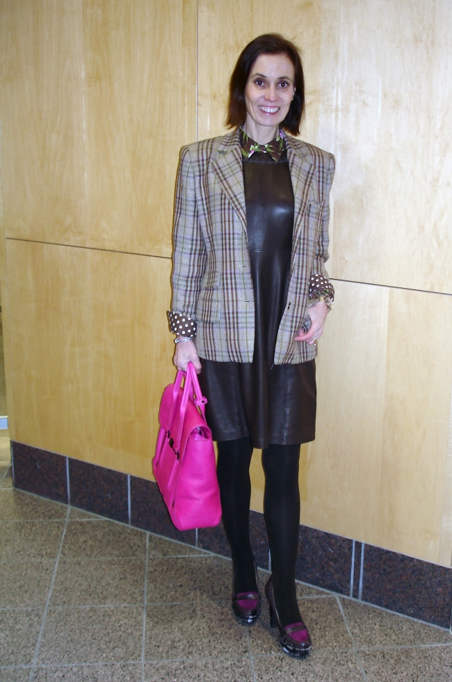 #over50style work outfit with leather sheath Tips on mixing pattern http://wp.me/p3FTnC-12E