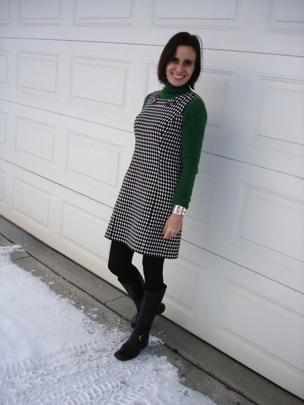 #fashionover40 woman in sheath and turtleneck for a winter work outfit