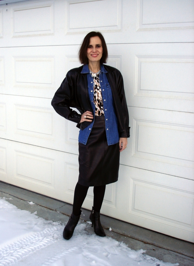 fashionover40 woman wearing leather-on-leather