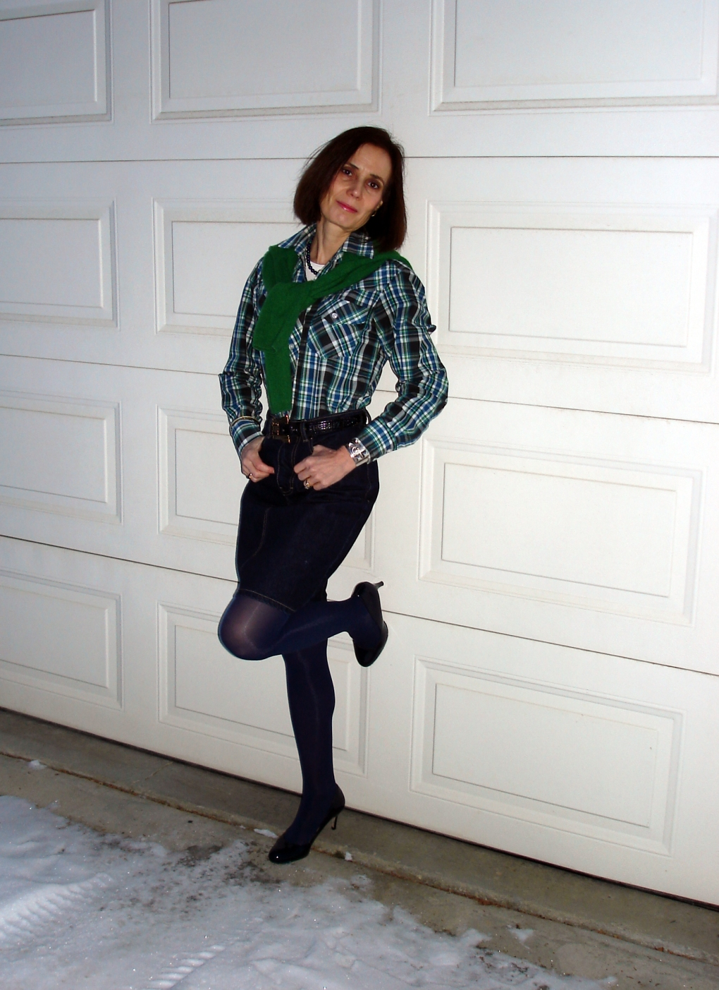 fashionover40 green plaid for St. Patrick's day