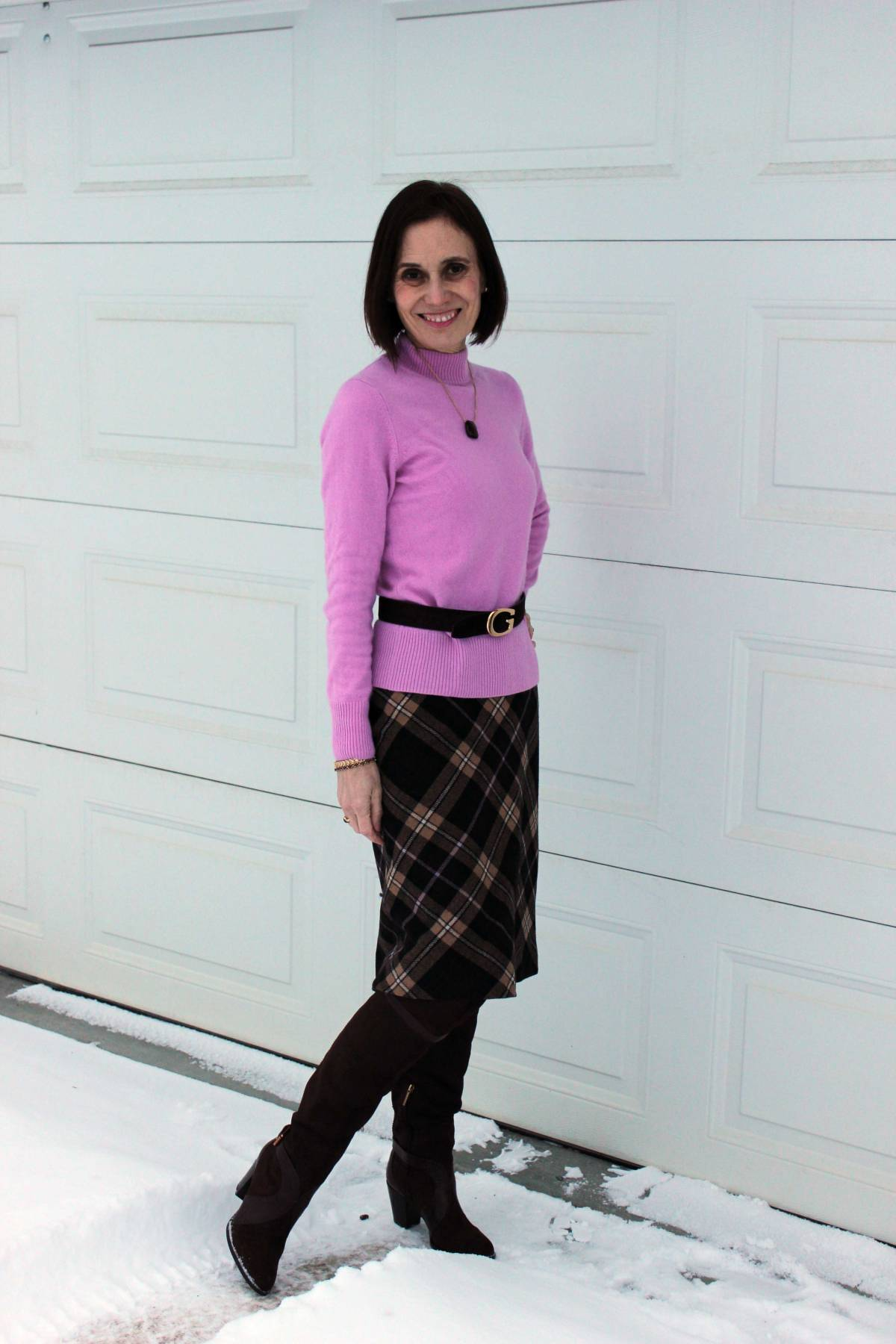 #over40fashion #fashionover50 How to style over-the-knee boots: example plaid skirt for work in the weekly Ageless Style series @ High Latitude Style @ http://www.highlatitudestyle.com