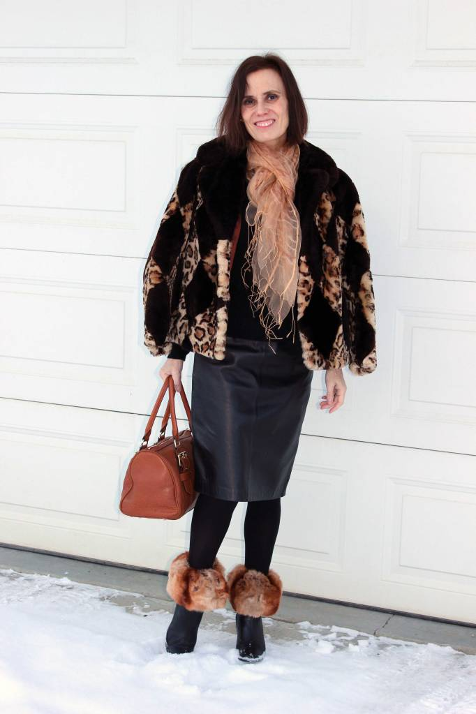 mature women winter outfit with boot toppers