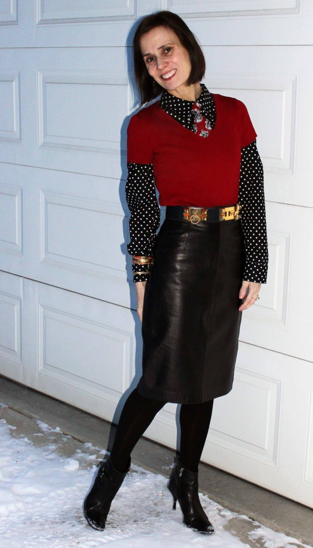 #styleover40 office look with leather skirt