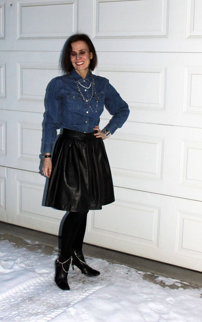 mature women wearing shoe jewelry in a street style outfit