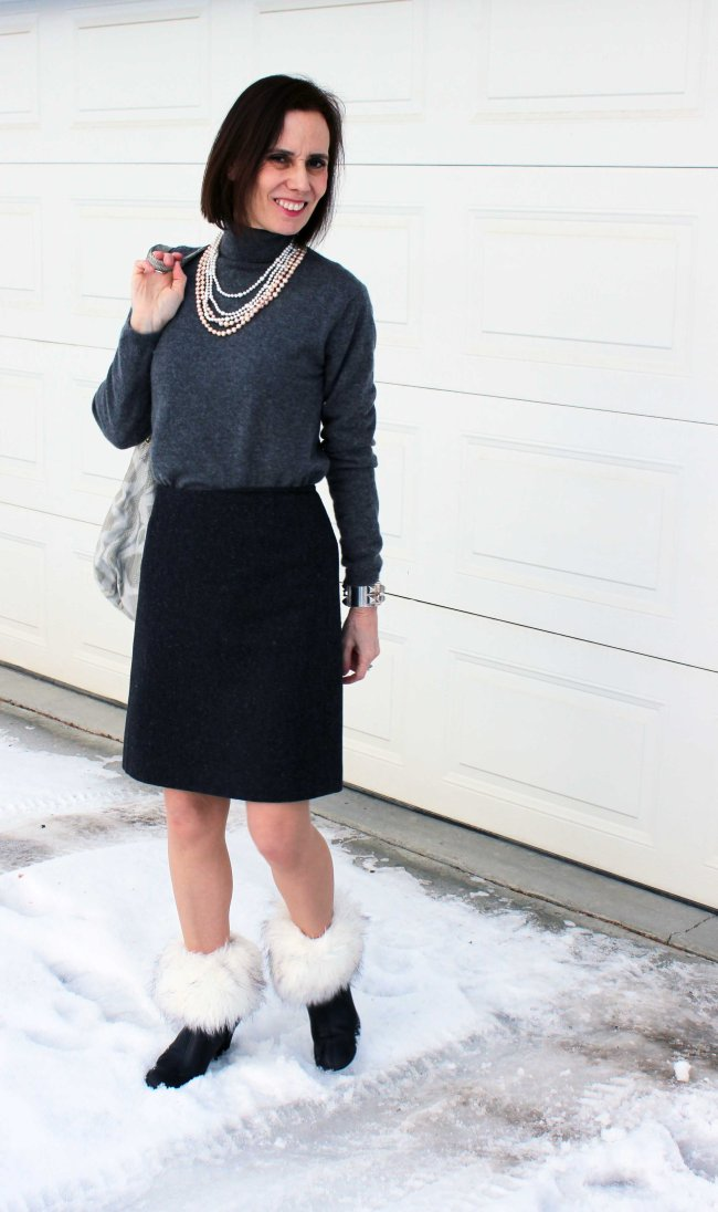 #Top-of-the-Boot #over-40 #work-outfit http://www.highlatitudestyle.com Mature women wearing an office look with boot toppers
