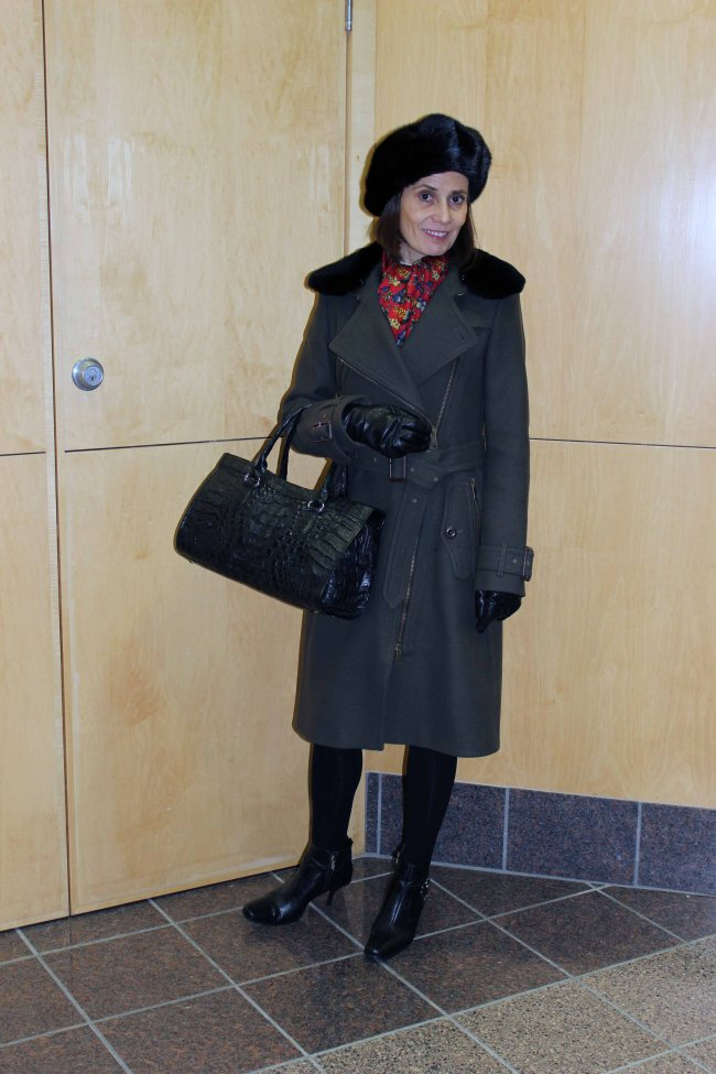 fashion over 40 women wearing a Burberry motorcycle coat