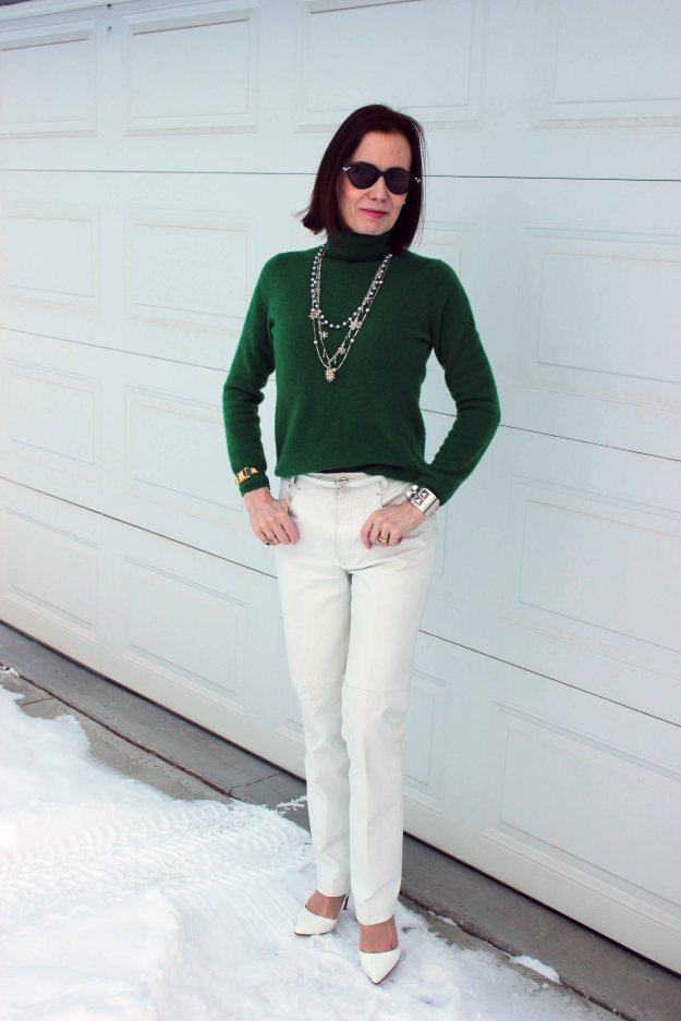 #fashionover40 Irish green sweater with white leather pants for the office on St. Patrick's Day | High Latitude Style | http://www.highlatitudestyle.com